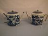 2 CHINESE CANTON DRUM TEAPOTS