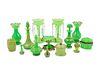 Fifteen Green Opaline Glass Articles