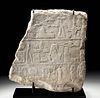 Translated Egyptian Limestone Offering Stele Fragment