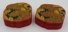 Pair of Cinnabar Tri-Color Lacquered Boxes.