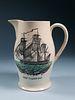 "Creamware Liverpool Jug of the American ""Ship Caroline"", circa 1800"