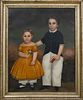 """American School Oil on Canvas """"Portrait of Brother and Sister in a Landscape"""""""