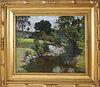 "John Joseph Enneking Oil on Canvas ""River Landscape"""