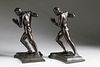 Pair of Harriet Whitney Frishmuth Patina Bronze Nude Male Figural Bookends, circa 1912
