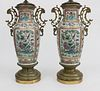 Pair of Ormolu Mounted  Chinese Export Famille Rose Overglazed Enamel Vases, circa 1840
