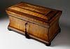 American Tiger Maple and Mahogany Tea Caddy, circa 1830-1840