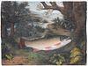 "Rare George Gardner Fish  Pastel on Paper ""Portrait of a Salmon"", circa 1847"