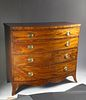 Massachusetts Federal Bow Front Inlaid Chest of Drawers, circa 1790-1810