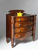 American Late Federal Miniature Mahogany Bow Front Chest of Drawers, circa 1825
