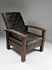 Gustav Stickley Reverse Tapered Bow-Arm Morris Chair, Craftsman Workshops of Gustav Stickley, Eastwood, New York, circa 1901