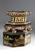 Chinese Gilt Decorated Red and Black Lacquer Portable Altar Stand