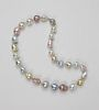 Very Fine 14.2mm x 18mm South Sea White, Silver, Gold And Fresh Water Pink Baroque Pearl Necklace
