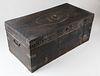Chinese Export Leather Covered Brass Bound Camphor Wood Trunk, 19th Century