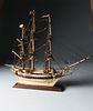 Prisoner of War Diminutive Bone Ship Model of a Man-o-War, circa 1800