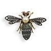 19th Ct Antique Mechanical Silver and Gold Wasp Brooch