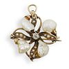 14K Gold Pearl and Diamond Brooch