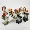 Eight Staffordshire Ceramic Cats and Dogs