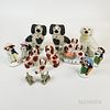 Thirteen Staffordshire Ceramic Figures and Dogs