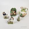 Three Staffordshire Ceramic Figures, a Cup, and a Pitcher