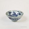 Small Chinese Blue and White Porcelain Bowl