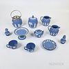 Twelve Modern Wedgwood Light Blue Jasper Items.