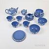 Nineteen-piece Modern Wedgwood Light Blue Jasper Tea Service.