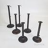 Six Tall Iron Hogscraper Candlesticks