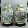 pair of very large Chinese famille rose porcelain cover jars, possibly 18th c.