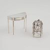 George V Silver Model of a Demilune Table and a Dutch Silver Model of a Birdcage