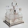 Assembled Edward VII Silver and Cut Glass Cruet Set