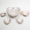 Four Gorham Silver Heart Shaped Candy Dishes and a Similar English Dish