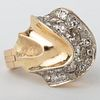 14k Gold and Diamond Wave Ring