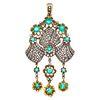 Diamond, Emerald, 18k, Silver Pendant