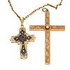 Collection of Two Diamond, Glass, Yellow Gold Crosses