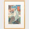 Utagawa Kunisada (1786-1864): The Actor Iwai Kumesaburo III, later Iwai Hanshir? VIII as Seigen, between ?tsu and Kyoyo Station