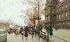 Eugene Galien-Laloue (Fr. 1854-1941)     -  Autumn Street Scene   -   Gouache on paper, framed under glass