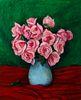 """Walt Kuhn (Am. 1877-1949)     -  """"Pink Roses in Blue Vase"""" 1938   -   Oil on canvas"""