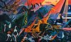 "Dahlov Ipcar (Am. 1917-2017)     -  ""Nightfall - Ngorongoro"" 1996   -   Oil on canvas"