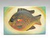 Well carved sunfish plaque, Oscar Peterson, Cadillac, Michigan.