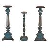 Lot of 3 candlesticks. 20th century. Made of blue metal, circular washers and architectural shafts.