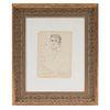 José Luis Cuevas. Retrato de Alfonso de Neuvillate (crítico de arte). Firmado. Dibujo a tinta sobre papel. Enmarcado. 22 x 16 cm