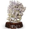 Chinese Hand Carved Jadeite Lavender Figural Group