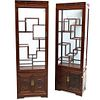 Pair Of Chinese wood Curio Cabinets