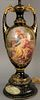 "Royal Vienna French porcelain urn made into a table lamp painted with classical scene with figures on painted wood base, total ht. 38"", vase 17 1/2""."