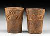 Rare Pair Inca Wood Keros w/ Incised Geometric Designs