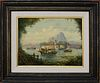 """Michael Matthews Chinese Export Style Oil on Canvas, """"View of the Fort, Hong Kong"""""""