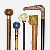 Continental, walking sticks, collection of five