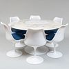 Eero Saarinen Tulip Enamel Metal Table and Six Swivel Tulip Enamel Metal and Fiberglass Chairs