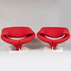 Pierre Paulin Designed Red Wool Upholstered 'Ribbon' Armchairs