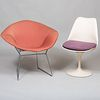 Harry Bertoia for Knoll 'Diamond' Chair and an Eero Saarinen for Knoll White 'Tulip' Side Chair